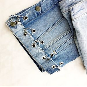GRLFRND Jackets & Coats - GRLFRND Distressed Grommet Ring Detail Jean Jacket